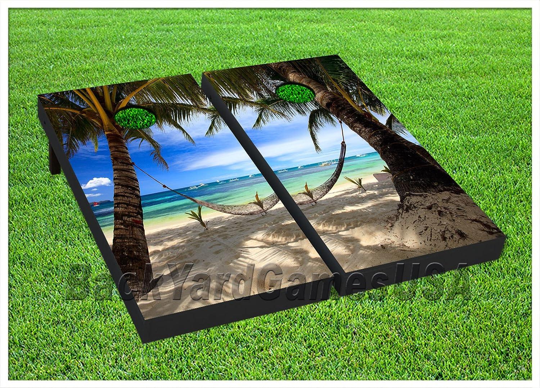 ビニールラップCornholeボードデカールTropical Paradise Beach tossgameステッカー267 B076L3SMST