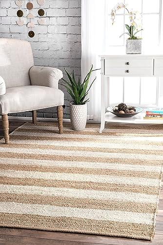 nuLOOM Alisia Flatweave Stripes Jute Rug, 6 x 9 , Off-white