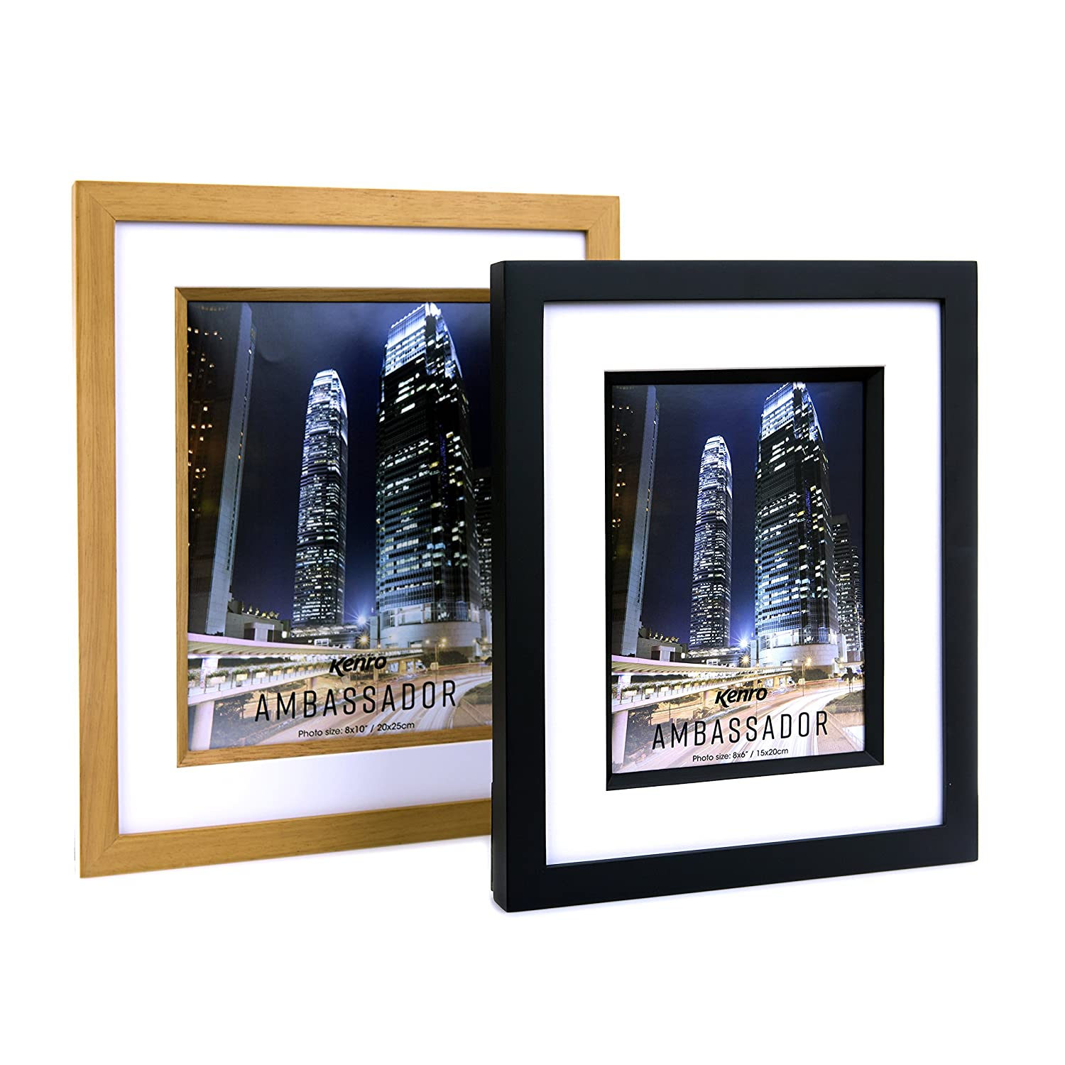Ambassador Series Gallery Wall Collage Minimal Interior AM3N Kenro Modern Solid Natural Wood Photo Frame A3//42x29.7cm with White Bevel Mount Picture Frame