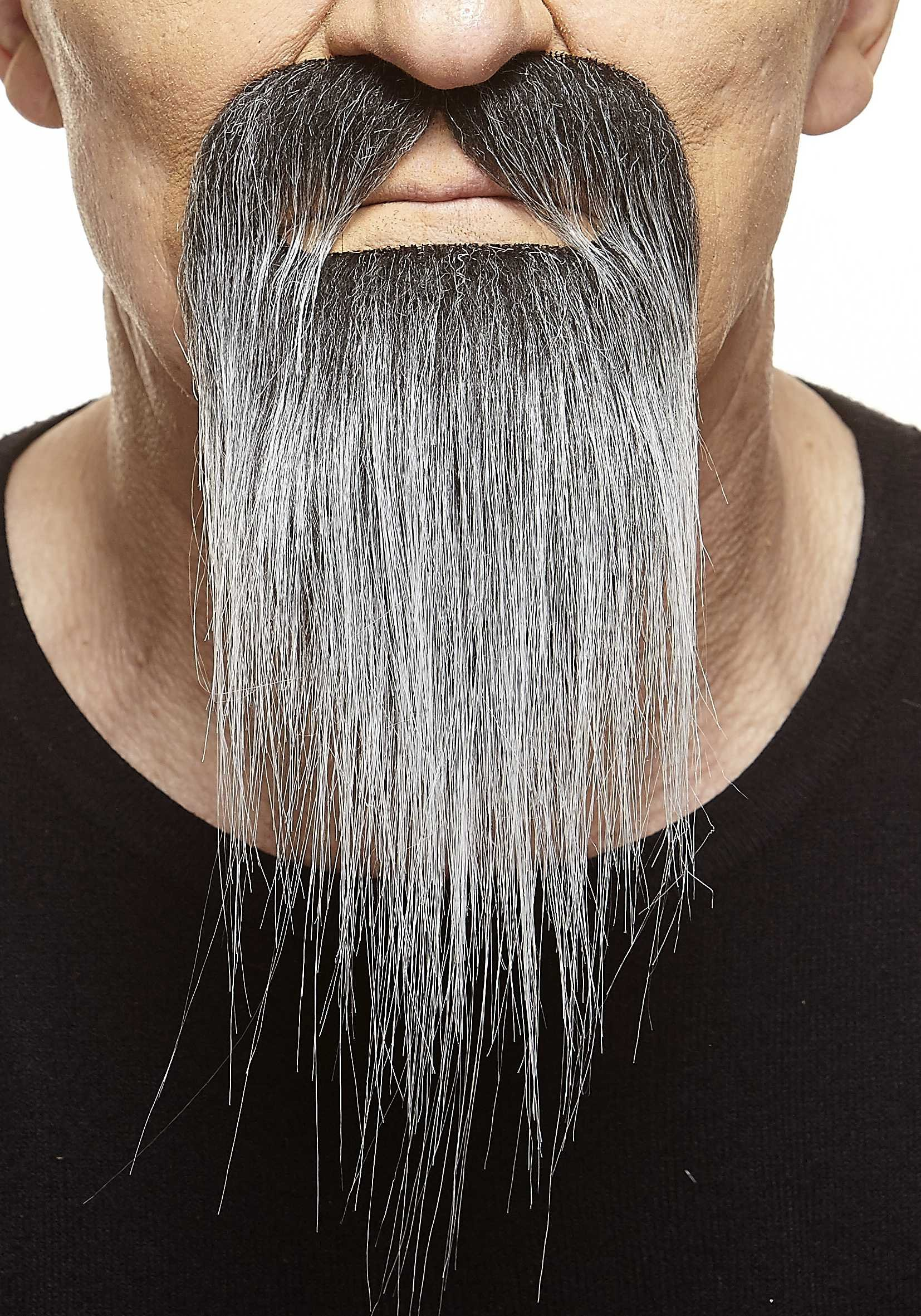 Mustaches Self Adhesive, Novelty, Fake Ducktail Beard, Salt and Pepper Color