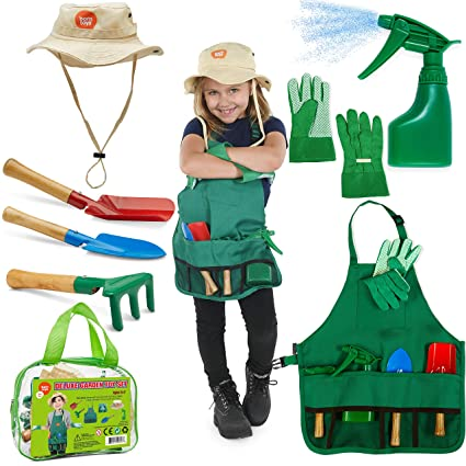 Born Toys Kids Gardening Set, Kids Gardening Tools with rake, Kids  Gardening Gloves and Washable Apron Set for Real or Sand Gardening and  Dress up