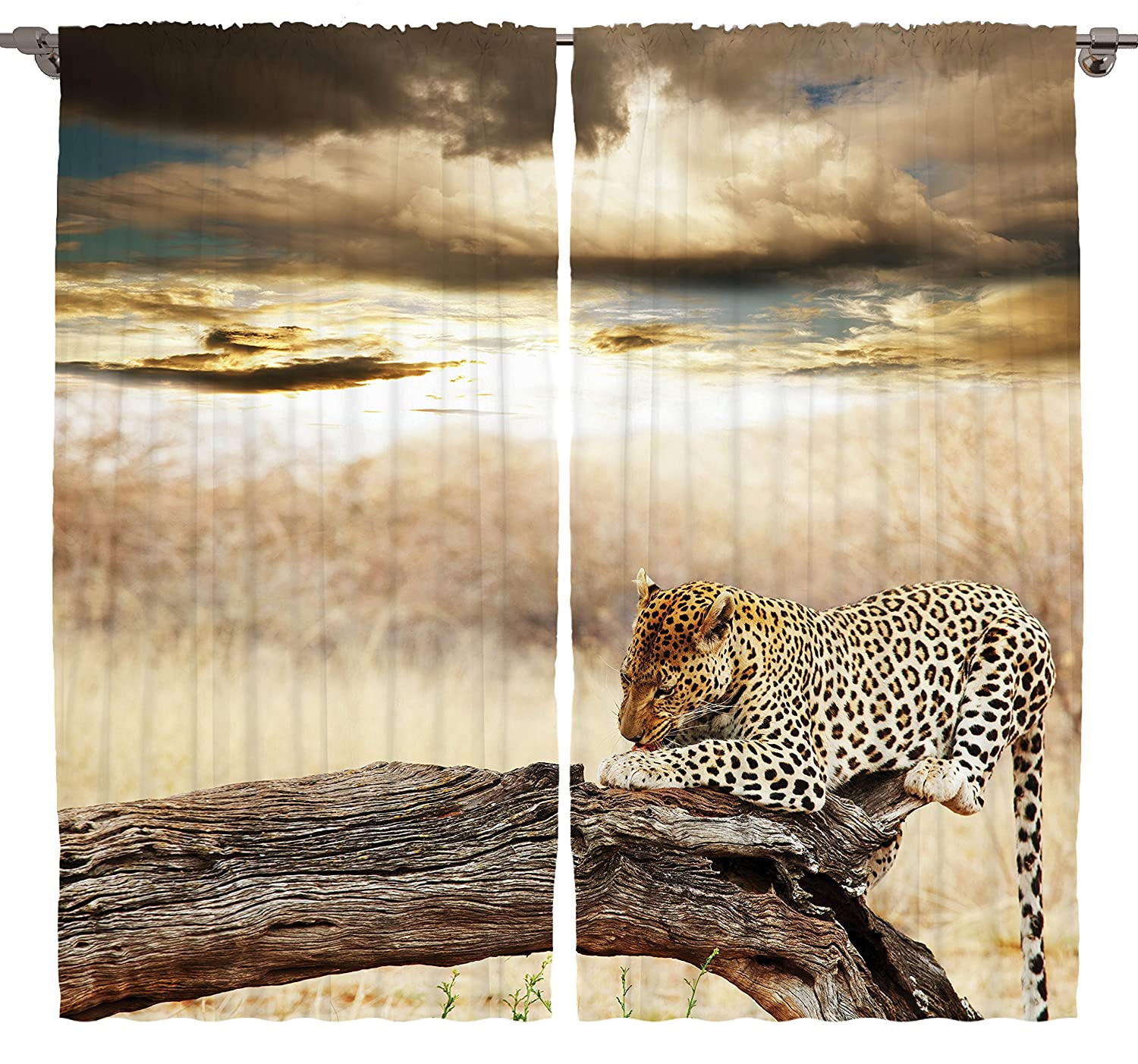 Amazon Animal Print Curtains Room Decor By Ambesonne Leopard Tiger Jungle African Animals Safari Wildlife Enchanted Forest Wild Cat Art Nature