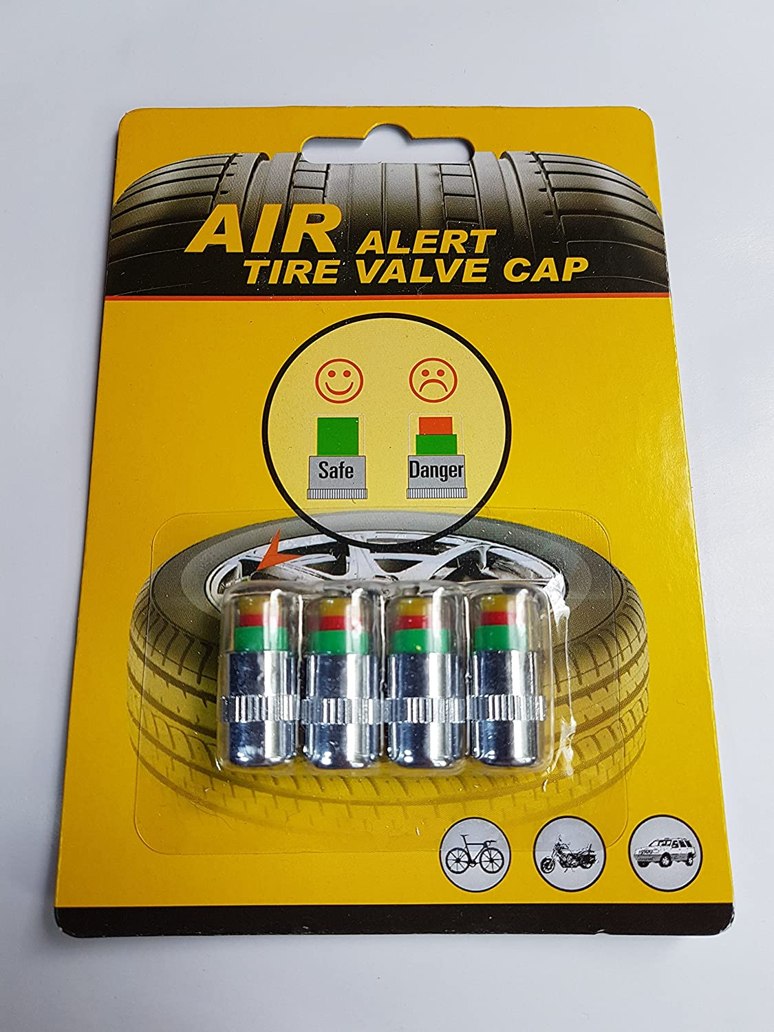 4 x Car Valve Tyre Caps Dust Monitor Wheel Pressure 36 PSI Tire Air Sensor