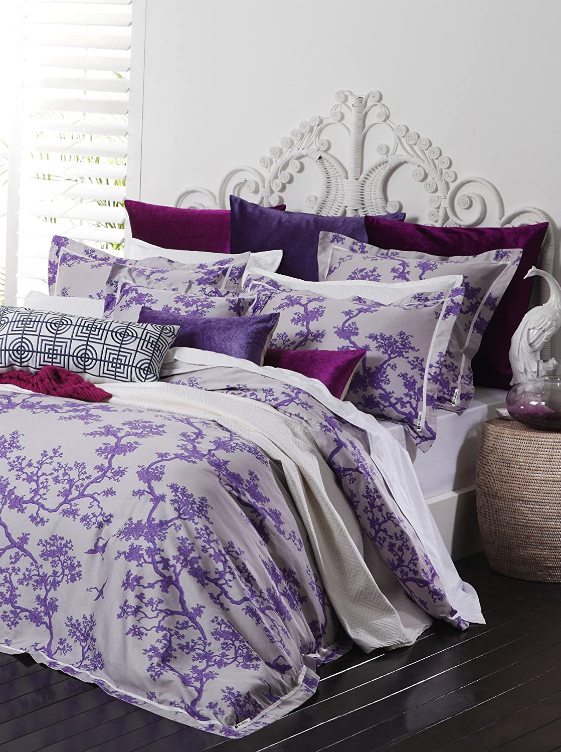 Surya Florence Broadhurst The Crane Duvet Bedding Set, Twin, Violet/Ivory/Light Gray