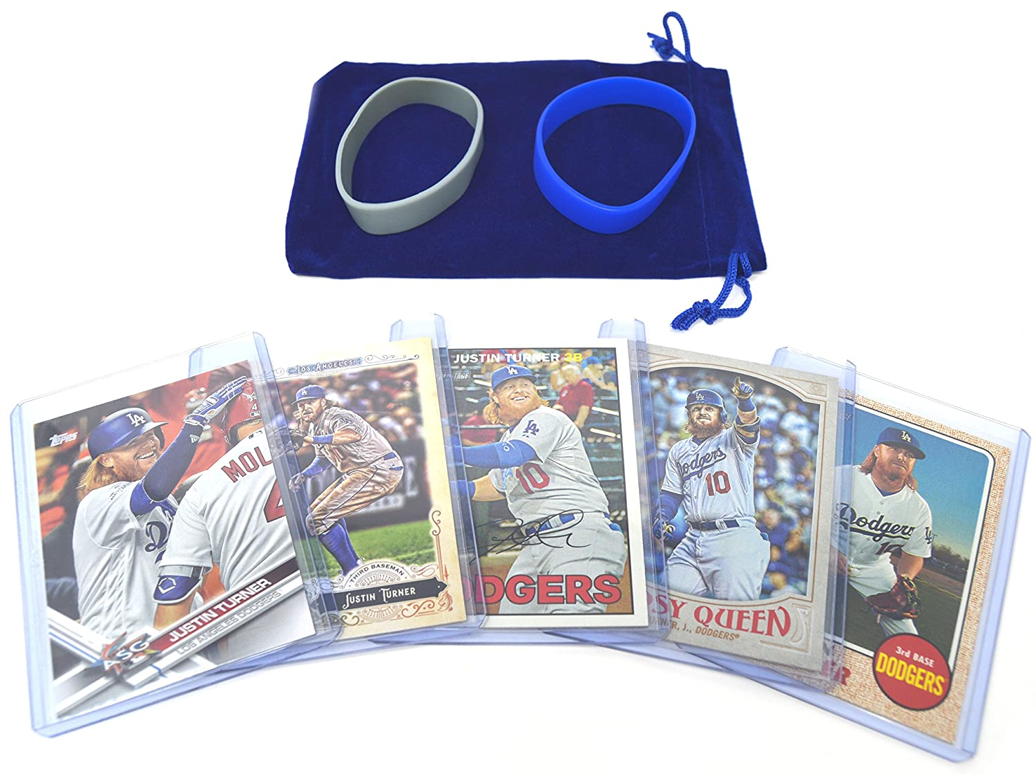 Justin Turner Baseball Cards Assorted (5) Gift Bundle - Los Angeles Dodgers Trading Cards # 10 Panini Bowman Topps