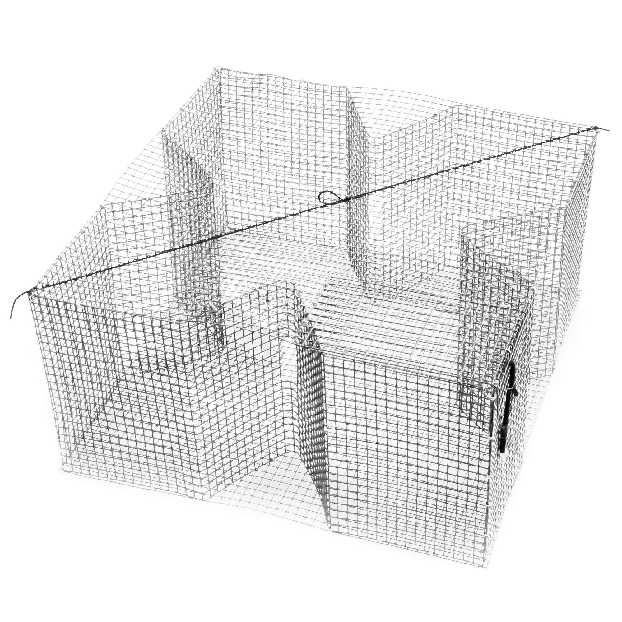 Nets & More Bait Trap. 24'' x 24'', 12'' deep. White PVC Coated Wire for Bream and Other Bait Fish. Made in The USA.