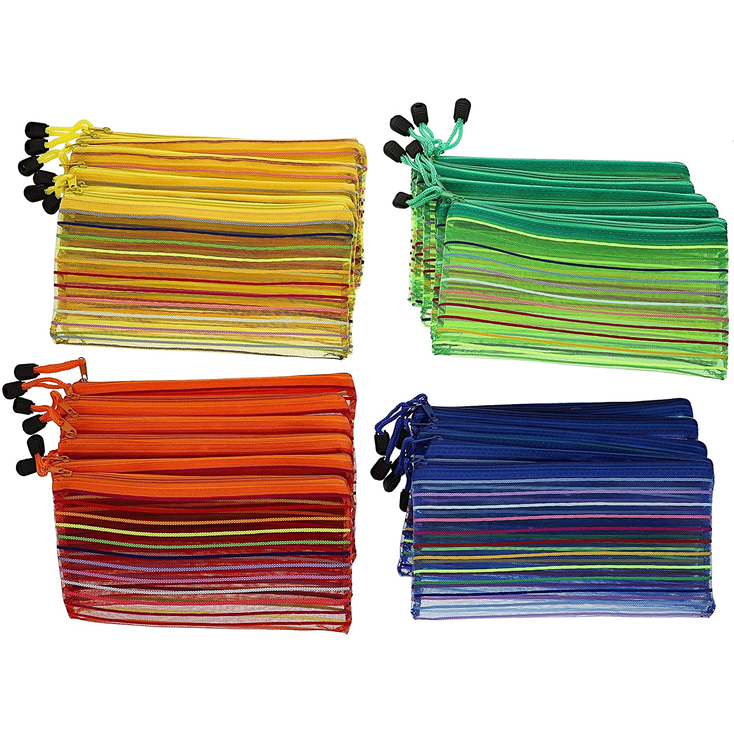 Assorted Striped Colors Juvale 24-Pack Mesh Zipper Pencil Pouch Document Holder for School and Office