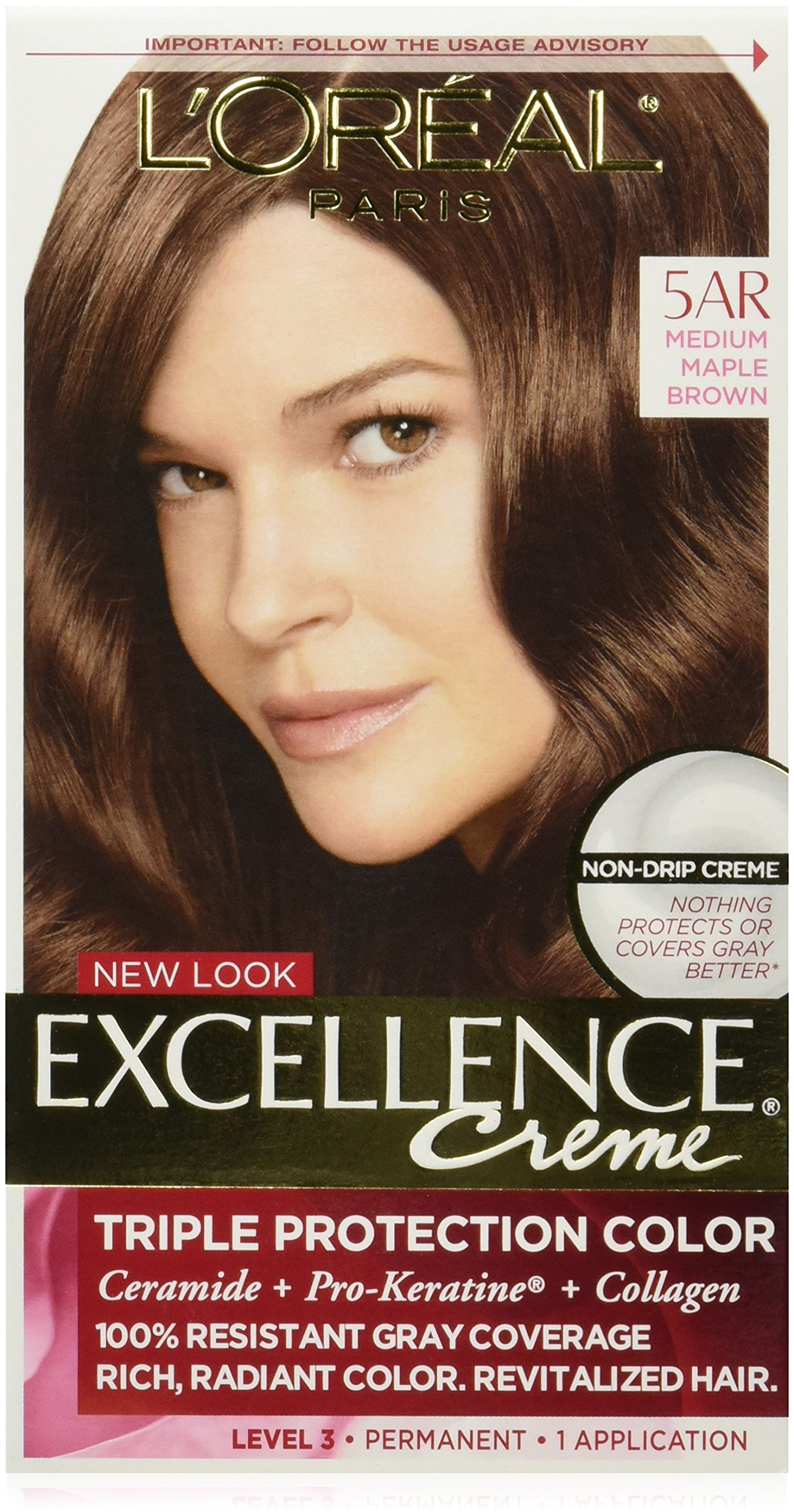Amazon loral paris excellence crme permanent hair color loreal excellence creme 5ar velvet brown medium maple brown 1 each geenschuldenfo Images