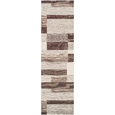 Superior Modern Rockwood Collection Area Rug, 8mm Pile Height with Jute Backing, Textured Geometric Brick Design, Anti-Static, Water-Repellent Rugs - Slate, 2'7  x 8' Runner
