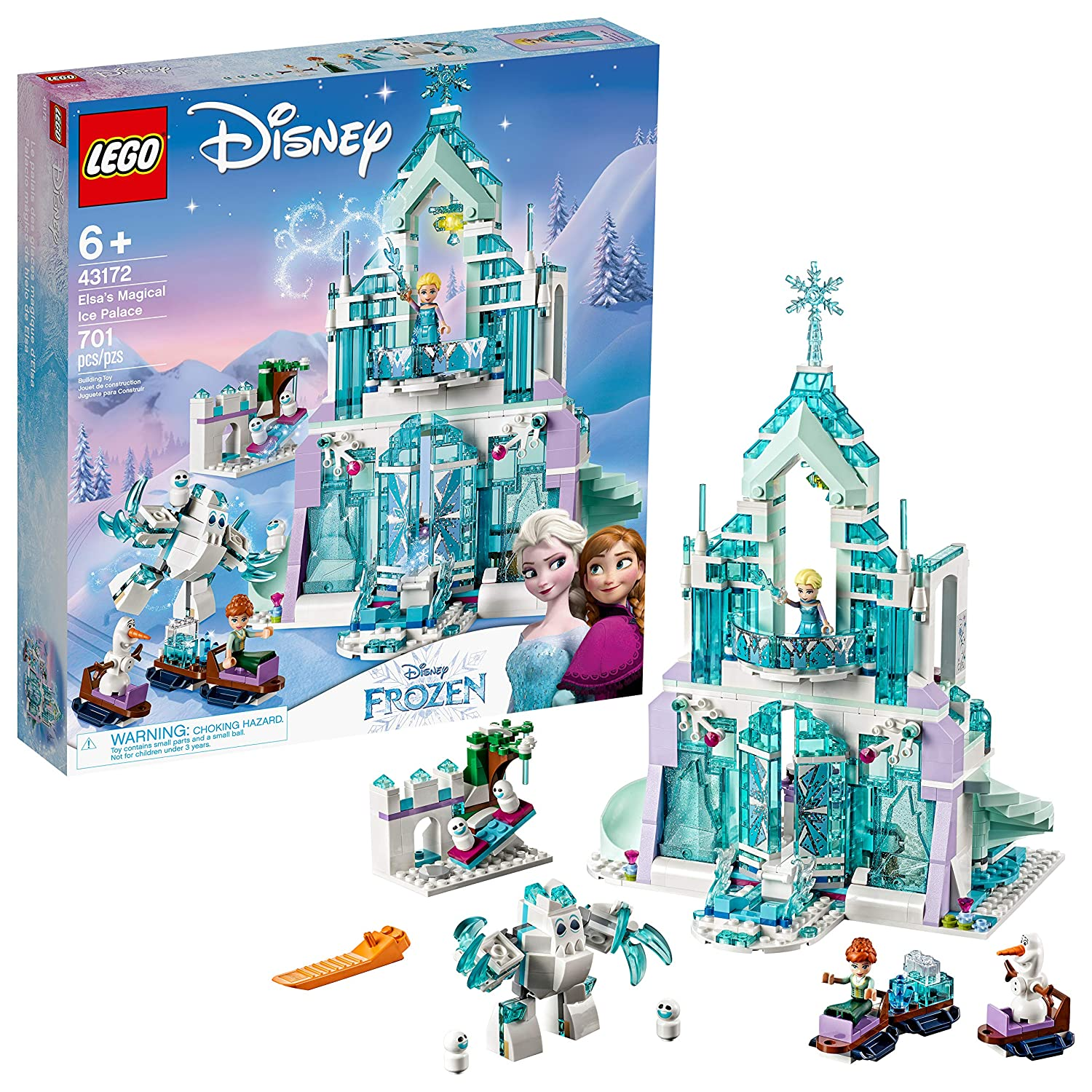 LEGO Disney Princess Elsa's Magical Ice Palace 43172 Toy Castle Building  Kit with Mini Dolls, Castle Playset with Popular Frozen Characters  including