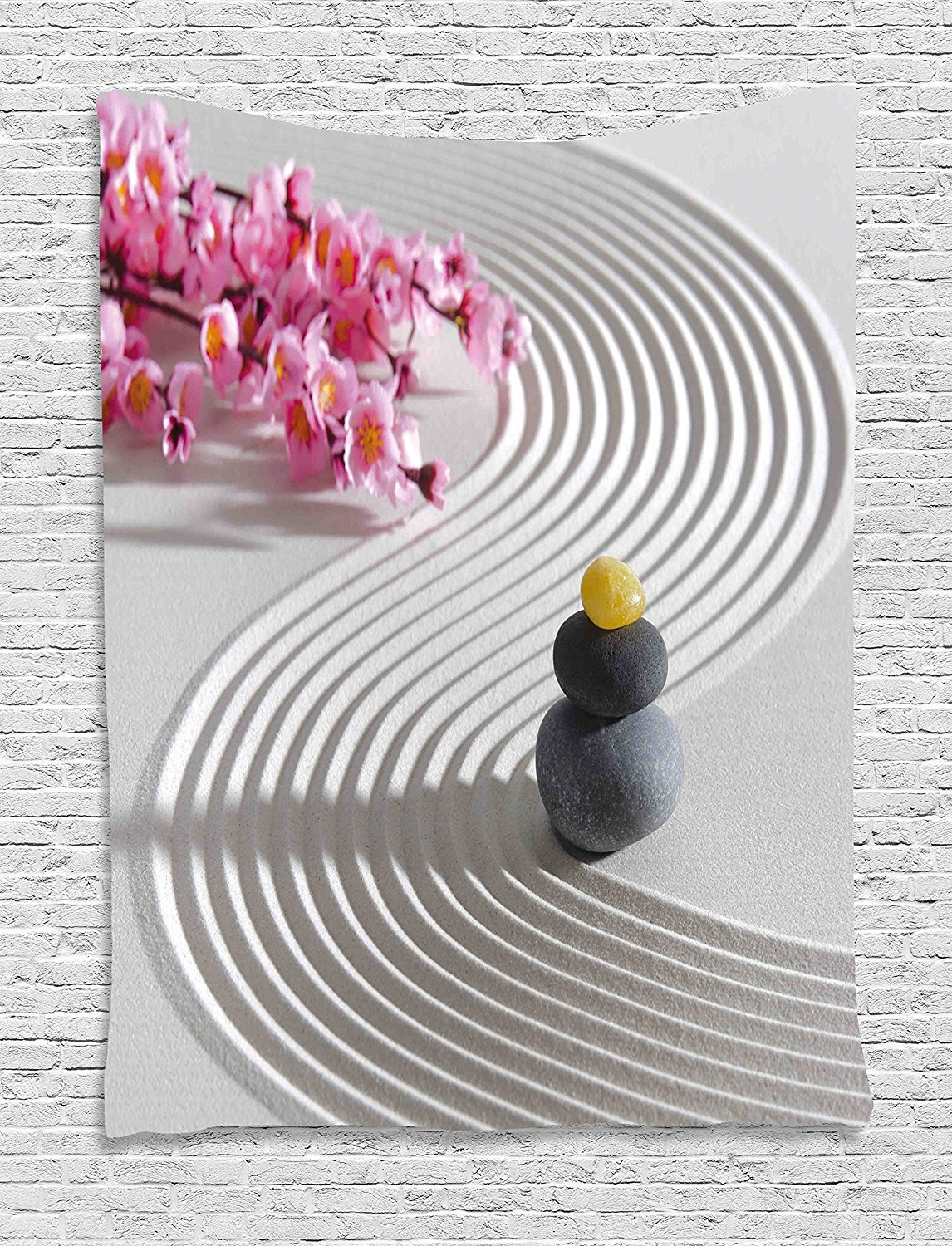 asddcdfdd Spa Tapestry, Japanese Zen Stones of Meditation Sand with Orchids Relax Yoga Spirit Picture, Wall Hanging for Bedroom Living Room Dorm, 60WX80L Inches, Pearl Pink Dimgrey