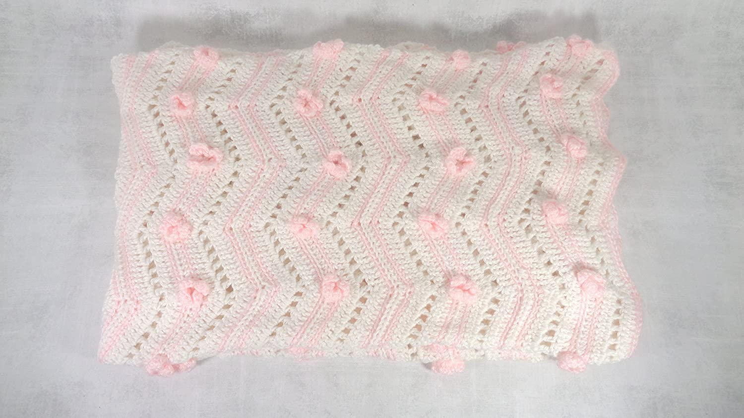 Image of baby girl blanket pink and white floral afghan throw crib cover baby shower gift Home and Kitchen