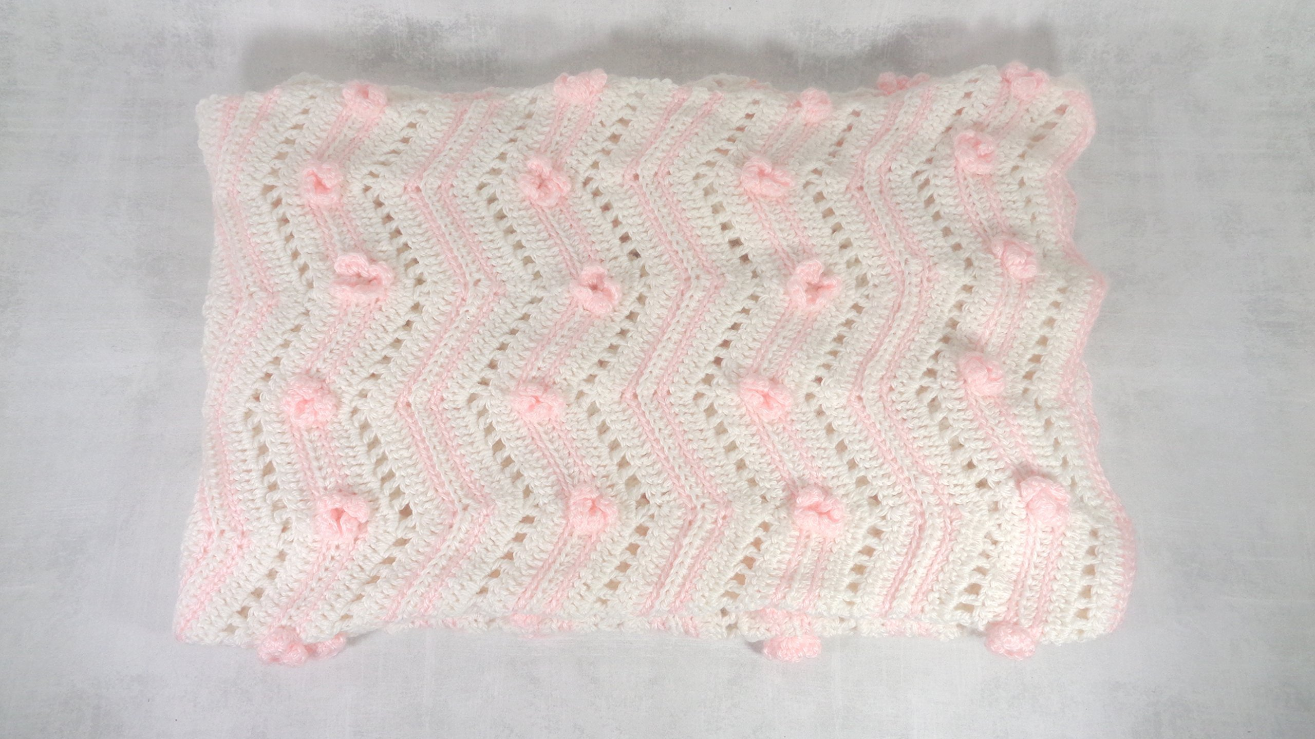 baby girl pink and white floral blanket afghan throw crib cover baby shower gift