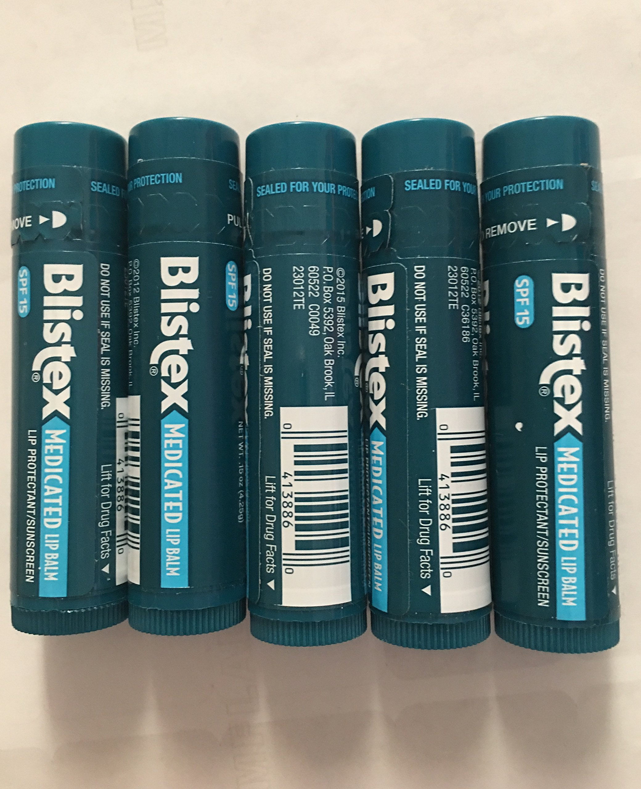 Lot of five (5) BLISTEX® Medicated Lip Balm Protectant / Sunscreen SPF15