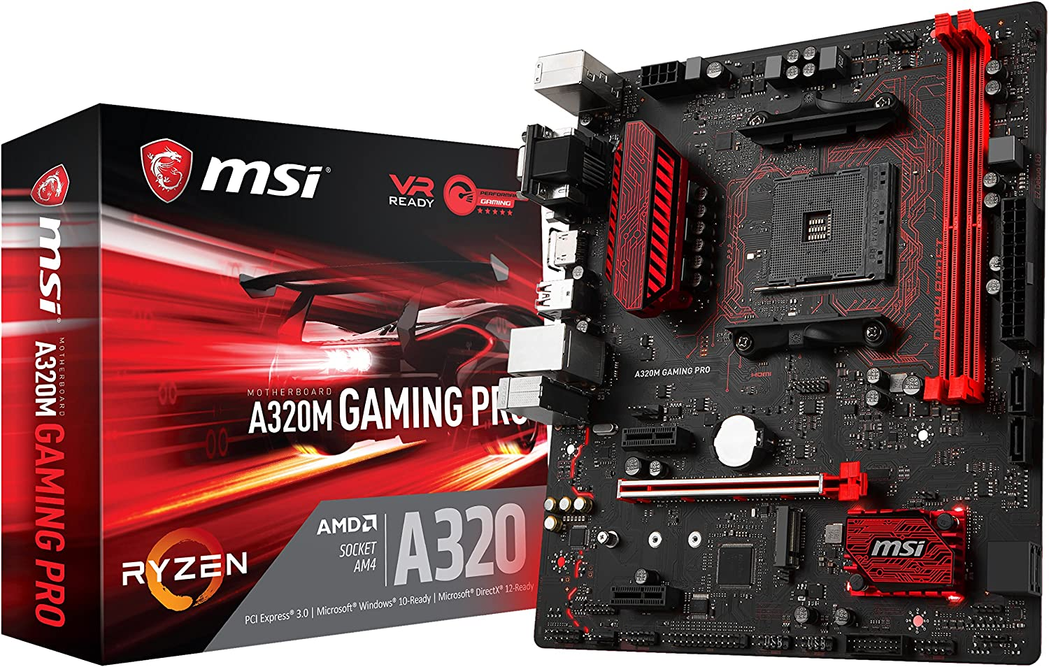 MSI Gaming AMD Ryzen A320 DDR4 VR Ready HDMI USB 3 micro-ATX Motherboard (A320M GAMING PRO)