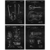 Vintage Fender Guitar Patent Poster Prints, Set of 4 (8x10) Unframed Photos, Wall Art Decor Gifts Under 20 for Home, Office,