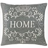 """Home 18"""" Chenille Cushion Cover Grey & Cream Vintage Style"""