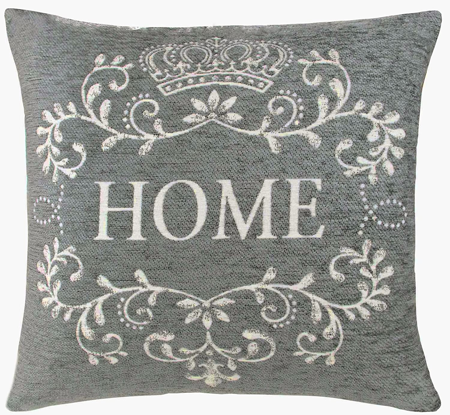 "Home 18"" Chenille Cushion Cover Grey & Cream Vintage Style Amazon"