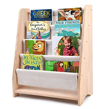 Kids Sling Bookcase SafeCare Childrens Wooden Rack Storage Bookshelf Features Suitable Height For Toddler With
