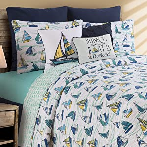 C&F Home Dockside Full Queen Cotton Quilt Set All-Season Oversized Reversible Coastal Beach Theme Sailing Boat Bedspread 3 Piece with Shams Full/Queen 3 Piece Set Blue