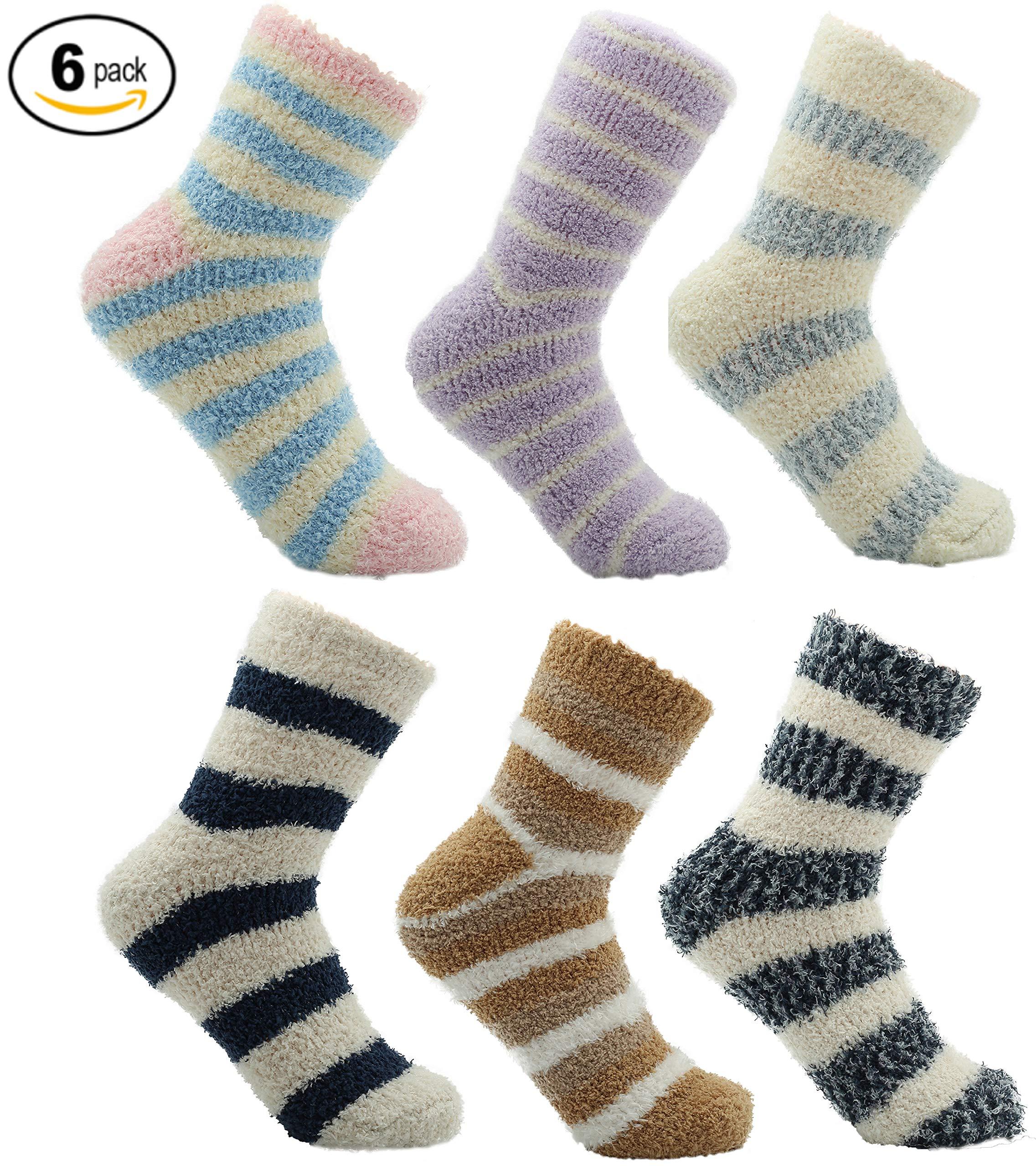 Cosy Socks for Women Fluffy Super Soft Thermal Womens Loungewear Slipper Bed Socks Pack of 6