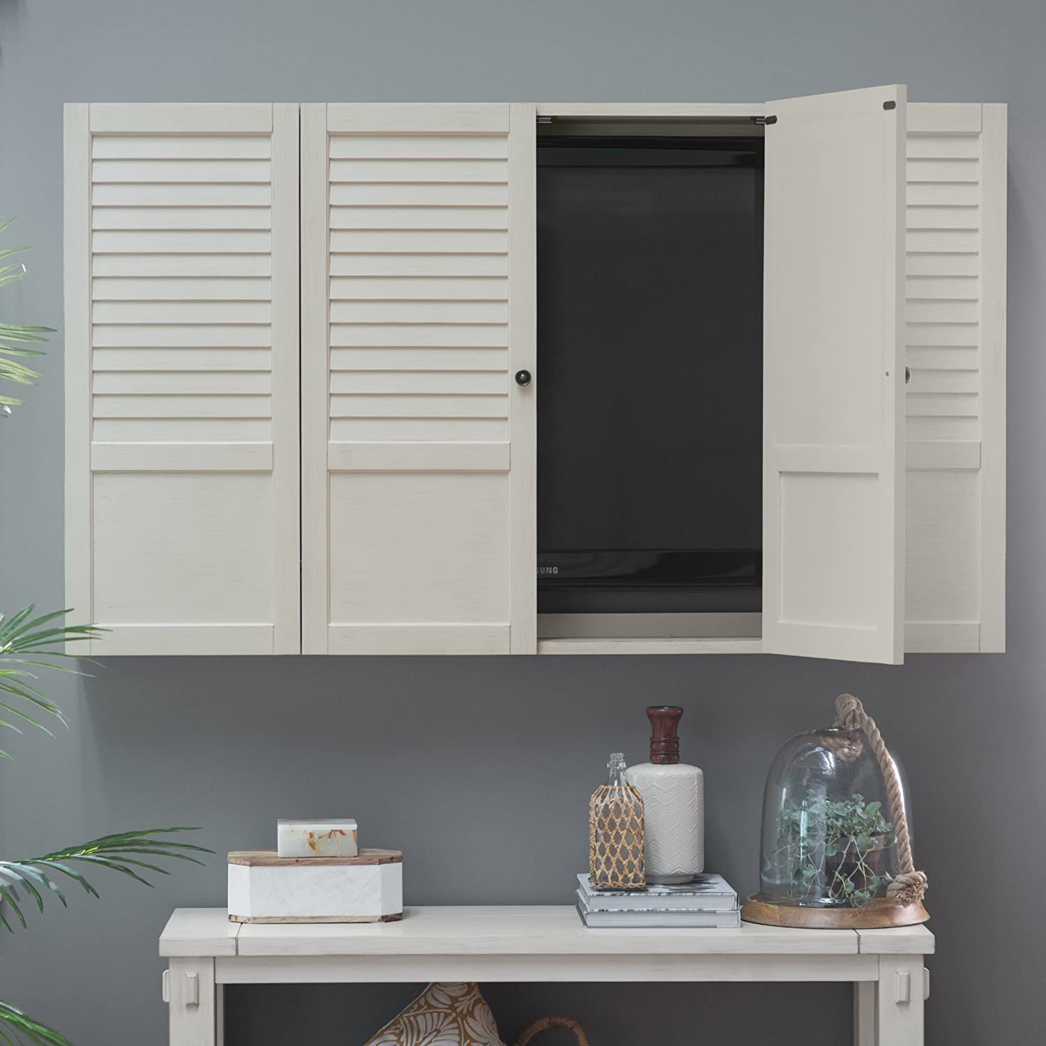 Nantucket Shutter Front TV Wall Cabinet - White Belham Living.