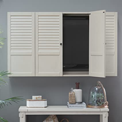 Nantucket Shutter Front TV Wall Cabinet   White