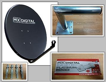 Antena parabólica Digital sólida de 80 cm, Soporte de Pared y Platino Individual 0,1 dB LNB