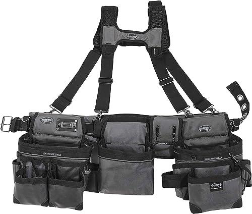 Bucket Boss 3 Bag Tool Bag Set with Suspenders in Grey, 55185