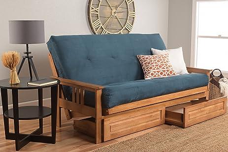eldorado futon brown finish frame w coil 8 inch mattress full size sofa bed