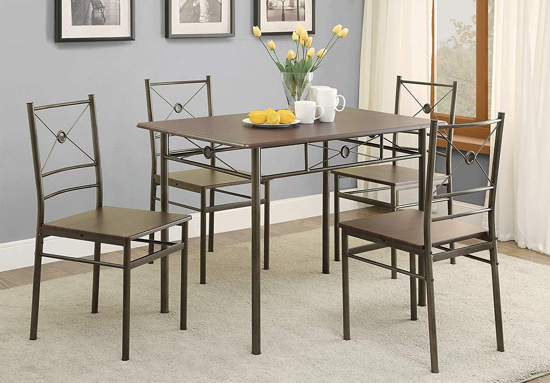 5 Piece Rectangular Dining Set Dark Bronze And Walnut Furniture Decor Amazon Com