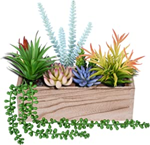 Wood Window Planter Rectangular, Rustic Decorative Flower Planter Box with 4 Removable Compartments, Indoor Window Box Planter (Succulent Not Included)