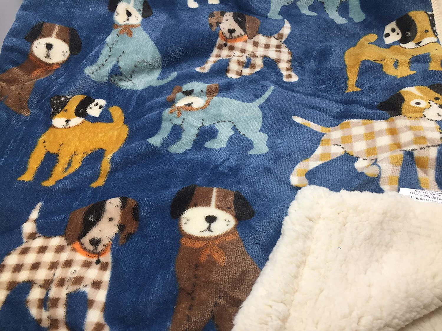 A Dog's Life bluee colorful Dogs Plush Pet Throw Blanket Sherpa Lined 50  x 60
