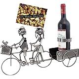 BRUBAKER Porte-bouteille de vin - Couple à vélo / en tandem - Métal - Carte de vœux incluse - Idée cadeau originale - Objet décoratif