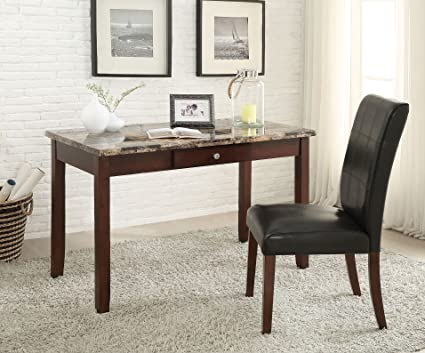 Major Q Office Desk + Chair Set Brown Faux Marble Top With Dark Walnut  Finish