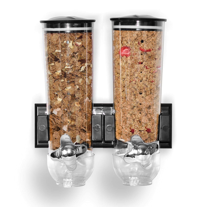 Dispensador de cereales de montaje en pared individual, doble triple hermético transparente con bandeja de derrames integrada para alimentos secos, ...