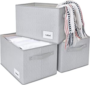 """JS HOME Large Closet Storage Baskets, Storage Bins for Shelves, Closet Storage Bins, Storage Baskets with Handles, Large, 3-Pack, Grey&White, 15.6"""" (L) x 12"""" (W) x 10.2"""" (H)"""