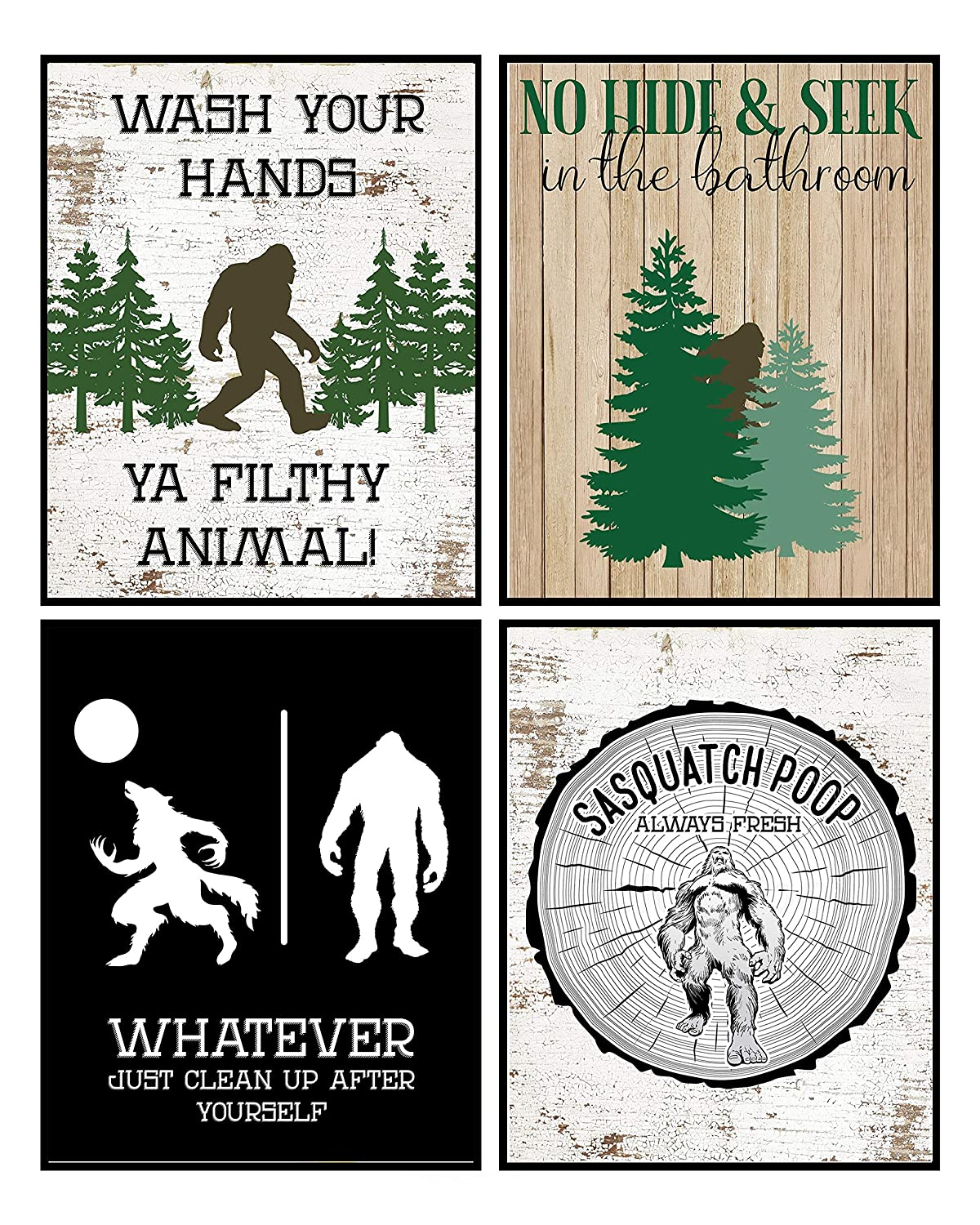 Funny Bigfoot Themed Art Prints Wall Decor Signs Bathroom Christmas Room (Bathroom Set)
