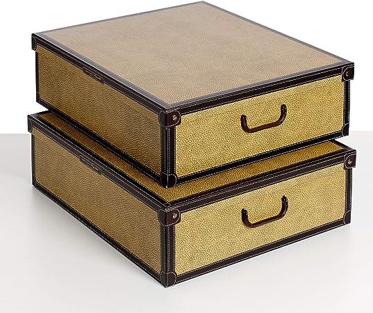 SET DE DOS Cajas de almacenamiento en cartón, tamaño BAJO CAMA, 2 unidades, modelo TAPIR: Amazon.es: Hogar