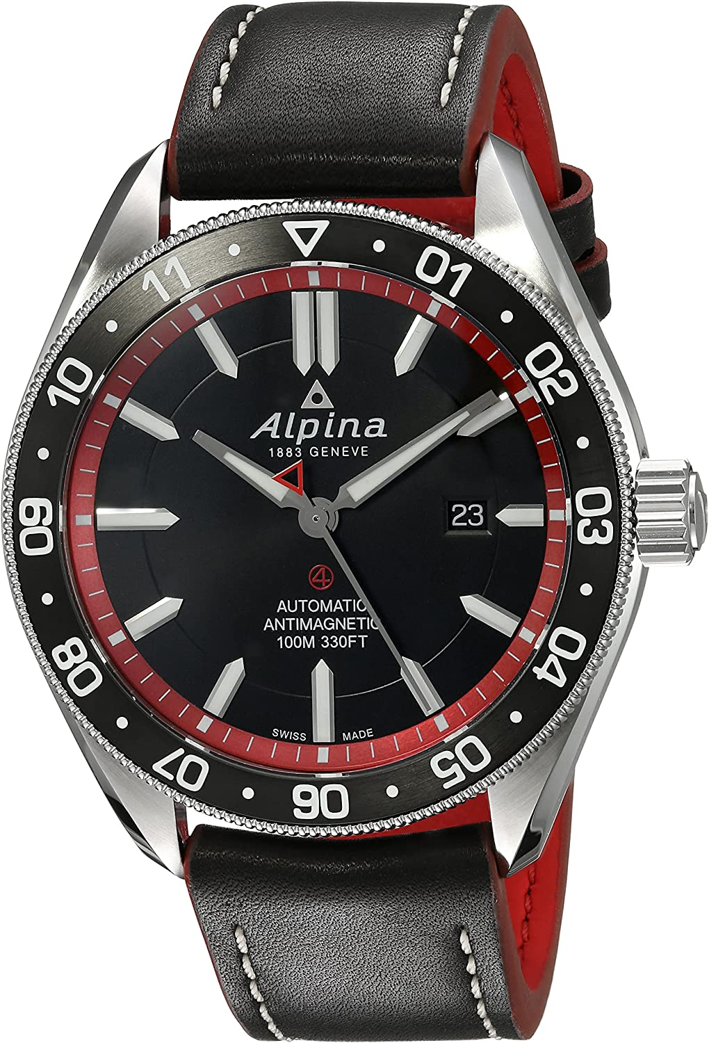 Alpina Men's Alpiner 4 Stainless Steel Swiss-Automatic Watch with Leather Strap, Black, 22 (Model: AL-525BR5AQ6)