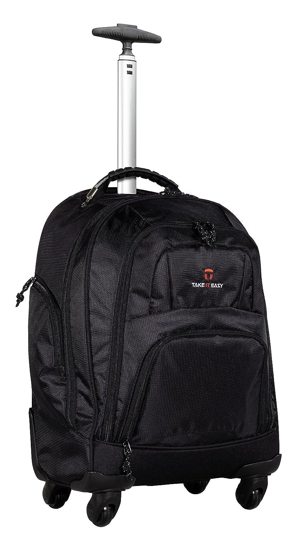 Schwarz  schwarz Großer Schultrolley Trolley Bag mit Trinkflasche - versch. Farben (Schwarz schwarz)
