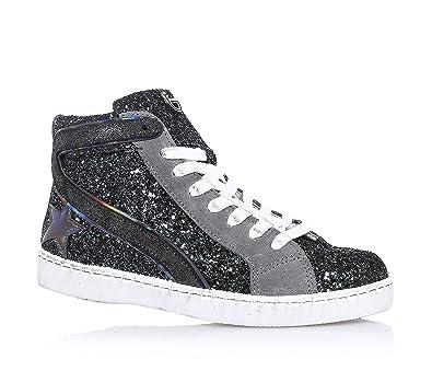 Byblos Sneaker à Lacets Argentée, en Glitter et Suède, avec Fermeture éclair Latérale, Logo sur la Languette, Coutures Visibles, Fille, Filles, Femme, femmes-28