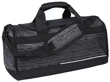 MIER Mens Holdall Bolso del Gimnasio de Deportes Negros Bolsa de Lona con los Zapatos Compartimento