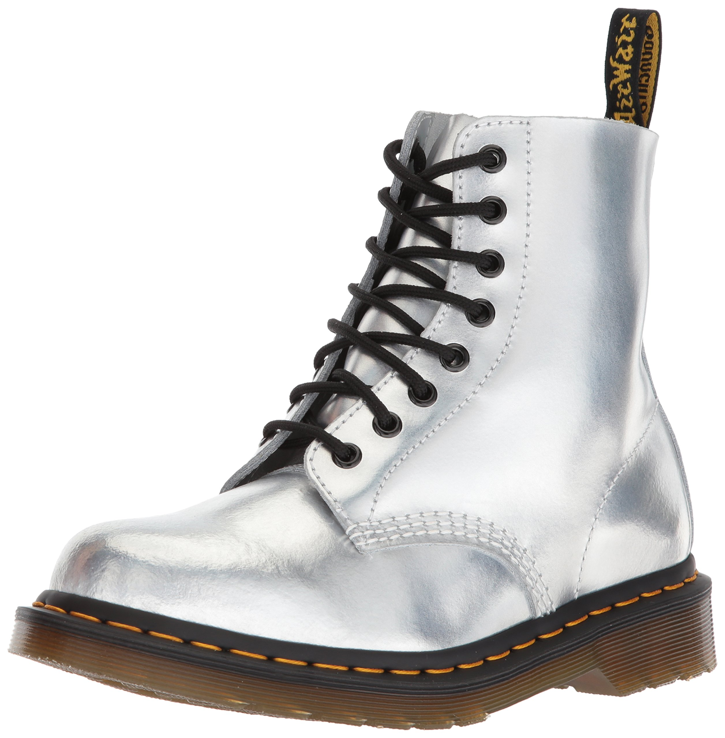 Dr. Martens Women's Pascal RS Silver Ankle Boot, Silver Lazer, 4 Medium UK (6 US)