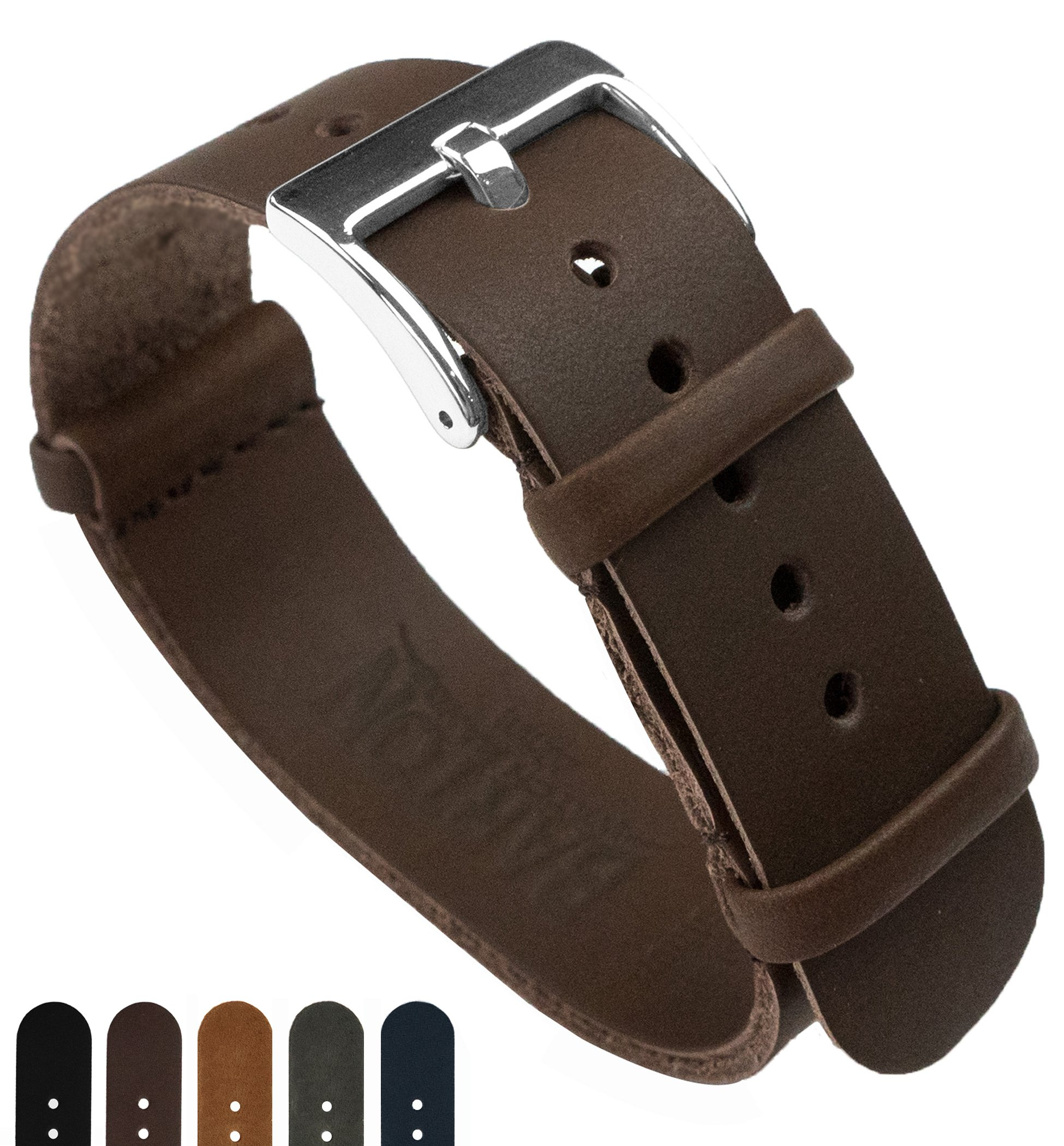 Barton Leather NATO Style Watch Straps - Choose Color, Length & Width - Saddle Brown 20mm Standard Band