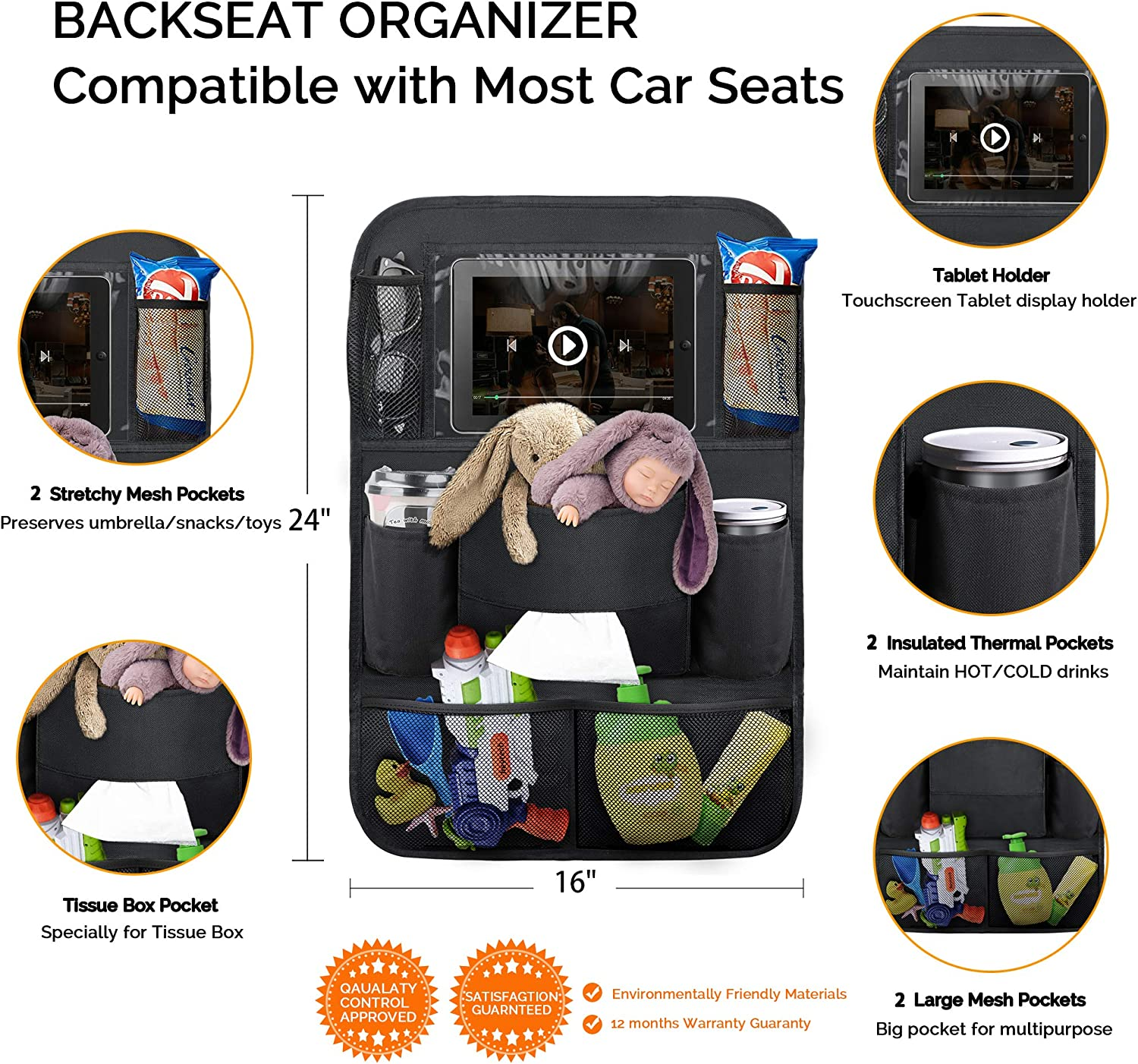 2 Pack OYRGCIK Backseat Car Organizer Kick Mats Car Back Seat Protector with Touch Screen Tablet Holder Tissue Box 8 Storage Pockets for Toys Book Bottle Drinks Kids Baby Toddler Travel Accessories
