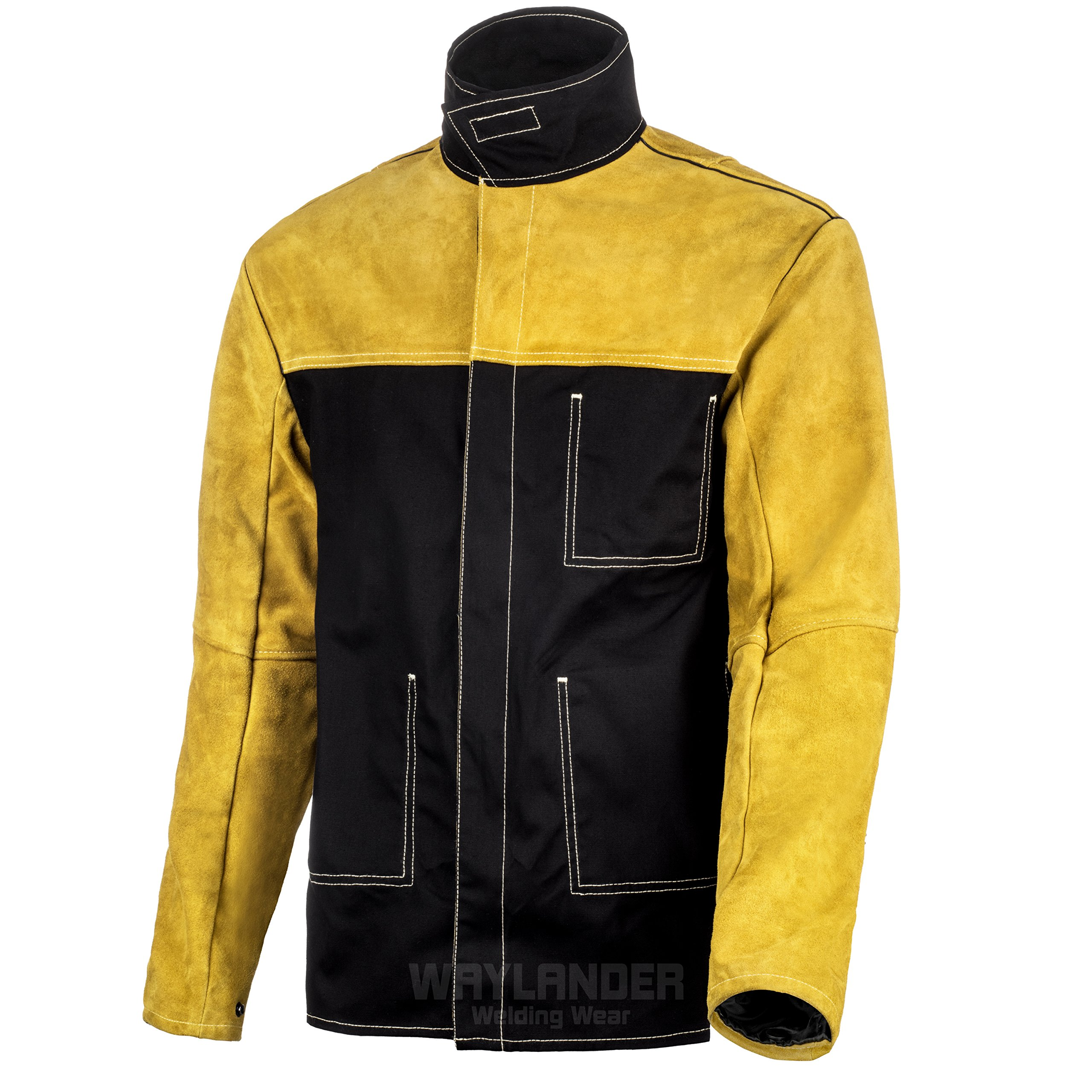 Waylander Welding Jacket Large Split Leather Heat Fire Resistant Cotton Kevlar Stitched Cowhide … by Waylander Welding