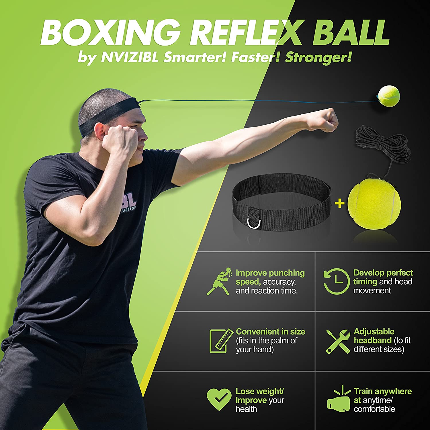 Kids Fight Ball Lose Weight and Improve Health Reflex Fight Ball with Headband for Boxing and MMA Nvizibl Fight Ball Reflex Speed Training for Punching Reflex