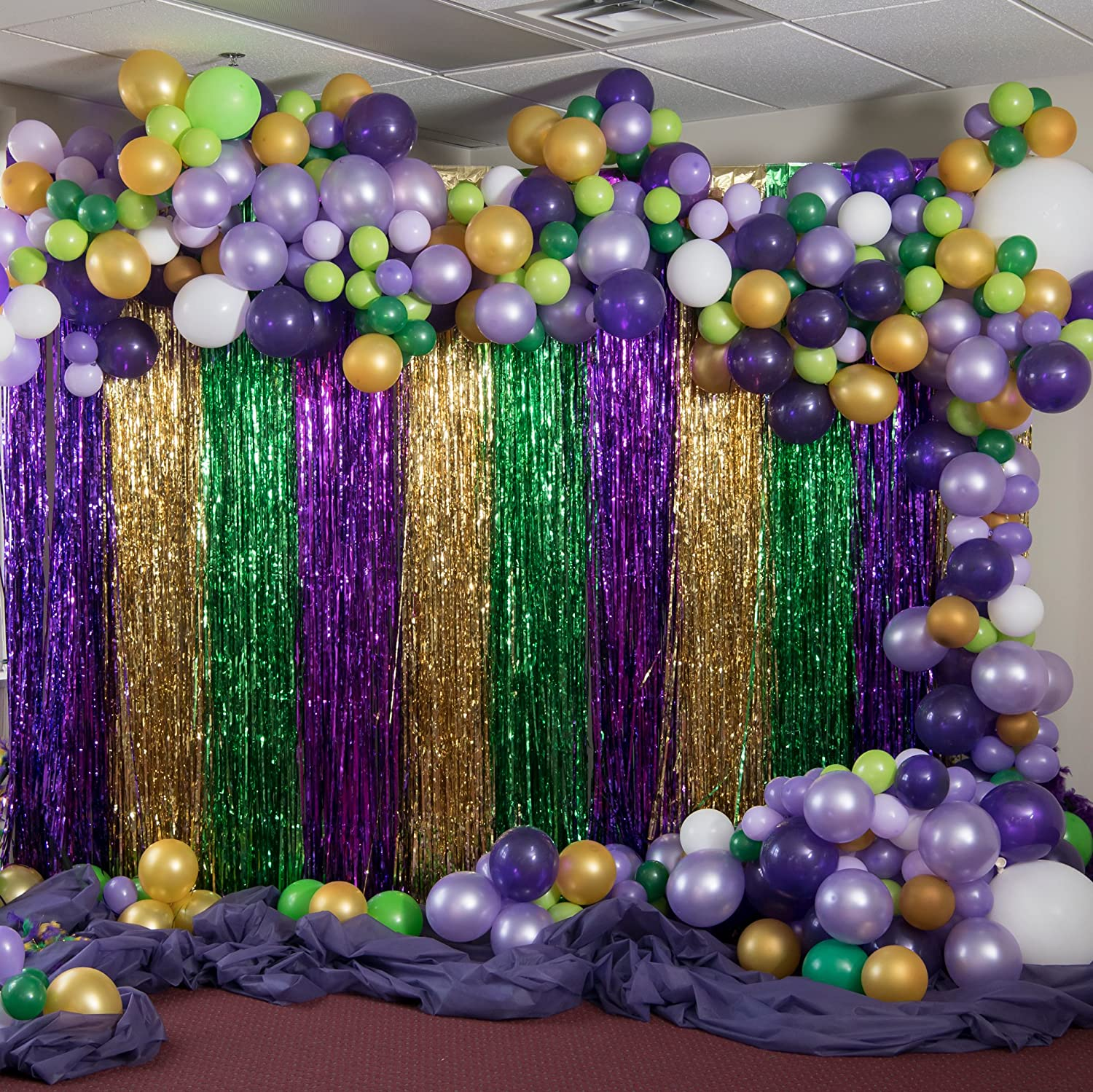 air fill only Mardi Gras Balloon Banner Kit
