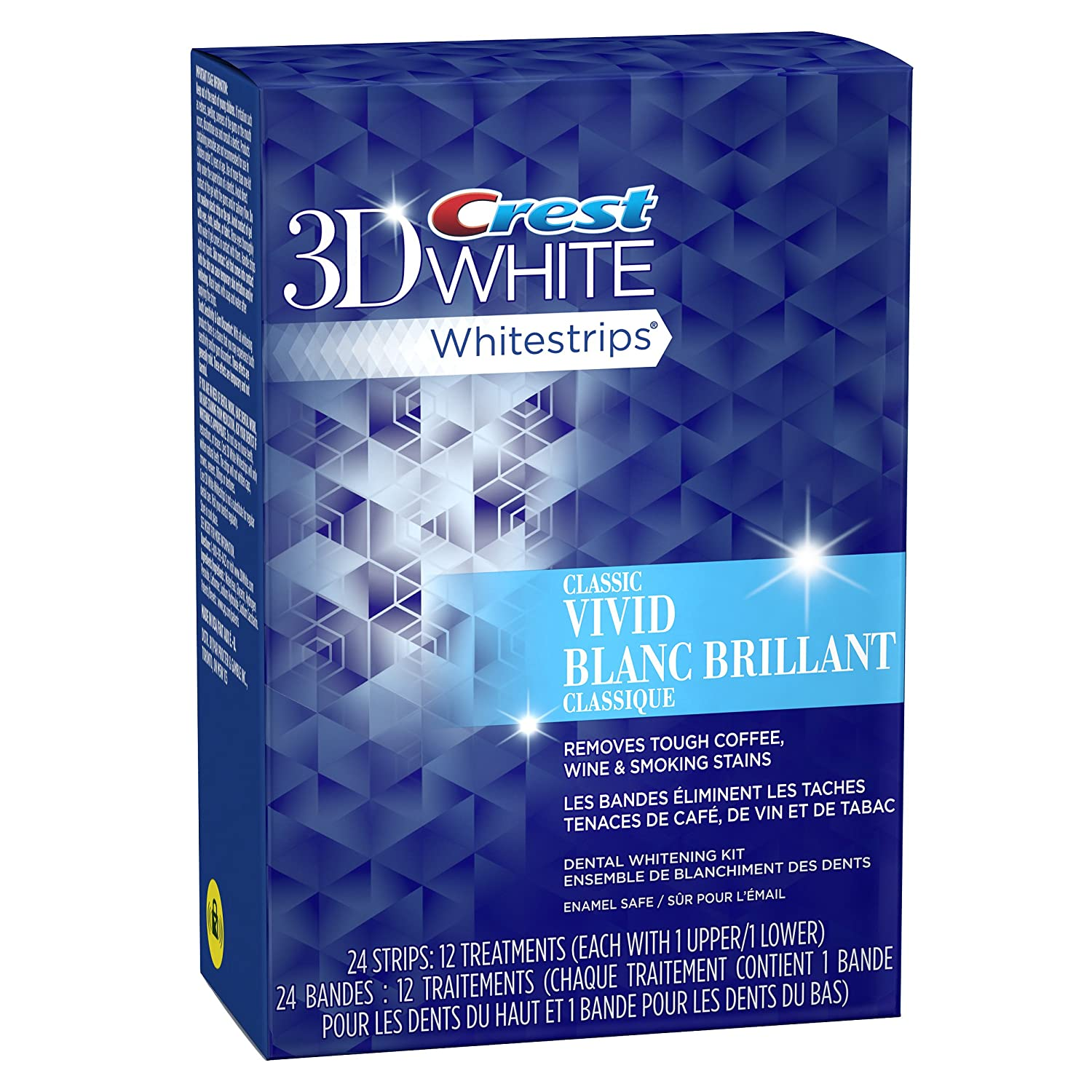 Crest 3D White Whitestrips Vivid Dental Whitening Kit, 12 Pouches